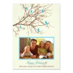 """Winter Birds Family Holiday Card (aqua) 5"""" X 7"""" Invitation Card"""