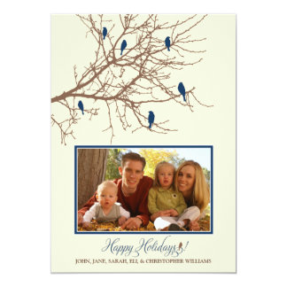 Winter Birds Family Holiday Card (blue)