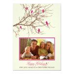 """Winter Birds Family Holiday Card (fuchsia) 5"""" X 7"""" Invitation Card"""