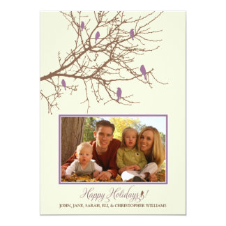 Winter Birds Family Holiday Card (lavender)