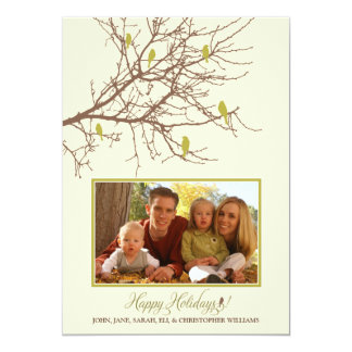 Winter Birds Family Holiday Card (lime)