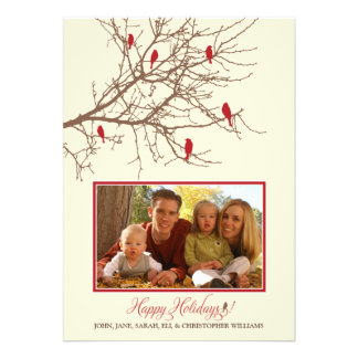 Winter Birds Family Holiday Card maroon