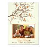 "Winter Birds Family Holiday Card (orange) 5"" X 7"" Invitation Card"
