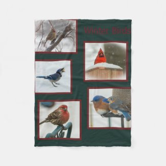 Winter Birds Fleece Blanket