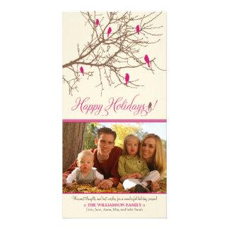 Winter Birds Happy Holidays Photo Card (fuchsia)