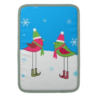 Winter birds MacBook sleeves