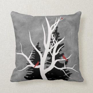Winter Birds Silhouettes Throw Pillow