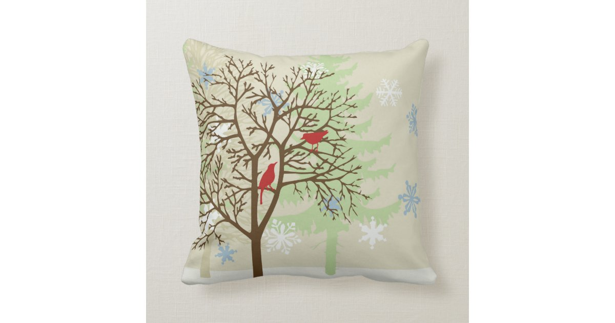 Newport Throw Pillows Birds : Winter Birds Throw Pillow Zazzle