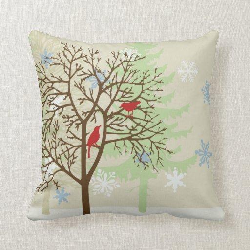Throw Pillow Zazzle : Winter Birds Throw Pillow Zazzle