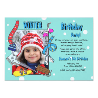 Winter Birthday Party Photo Invitation