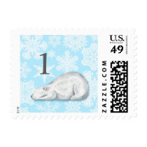 Winter birthday polar bear snowflake postage
