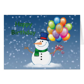 winter birthday snowman card