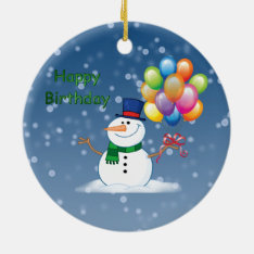 Winter Birthday Snowman Ceramic Ornament at Zazzle