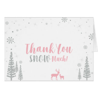 Winter Birthday Thank You Card - Pink & Silver