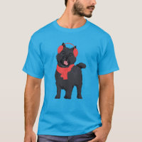 Winter Black Cairn Terrier Dog with Red Ear Muff T-Shirt