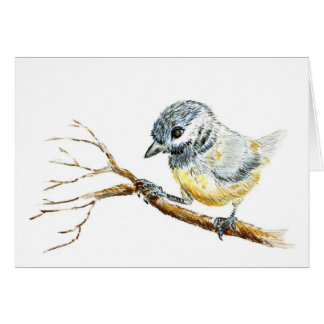 Winter Black Capped Chick-a-Dee, Watercolor Pencil Greeting Card