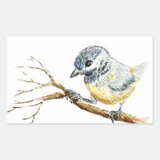 Winter Black Capped Chick-a-Dee, Watercolor Pencil Rectangular Sticker