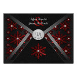 Winter Black & Red Snowflake Wedding Invitations
