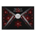 Winter Black & Red Snowflake Wedding Invitations