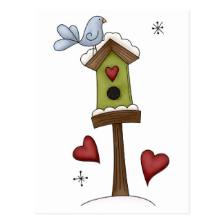 Winter Blessings · Birdhouse Bird Hearts Post Card