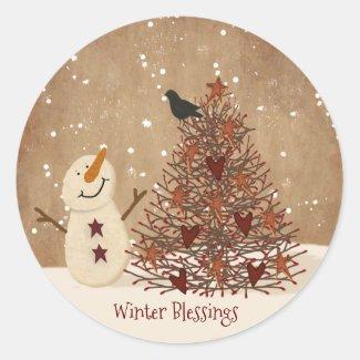 Winter Blessings Snowman Christmas Sticker