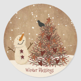 Winter Blessings Snowman Christmas Sticker