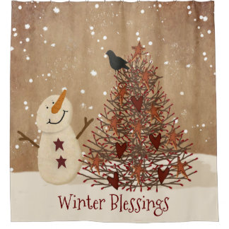 Winter Blessings Snowman Shower Curtain