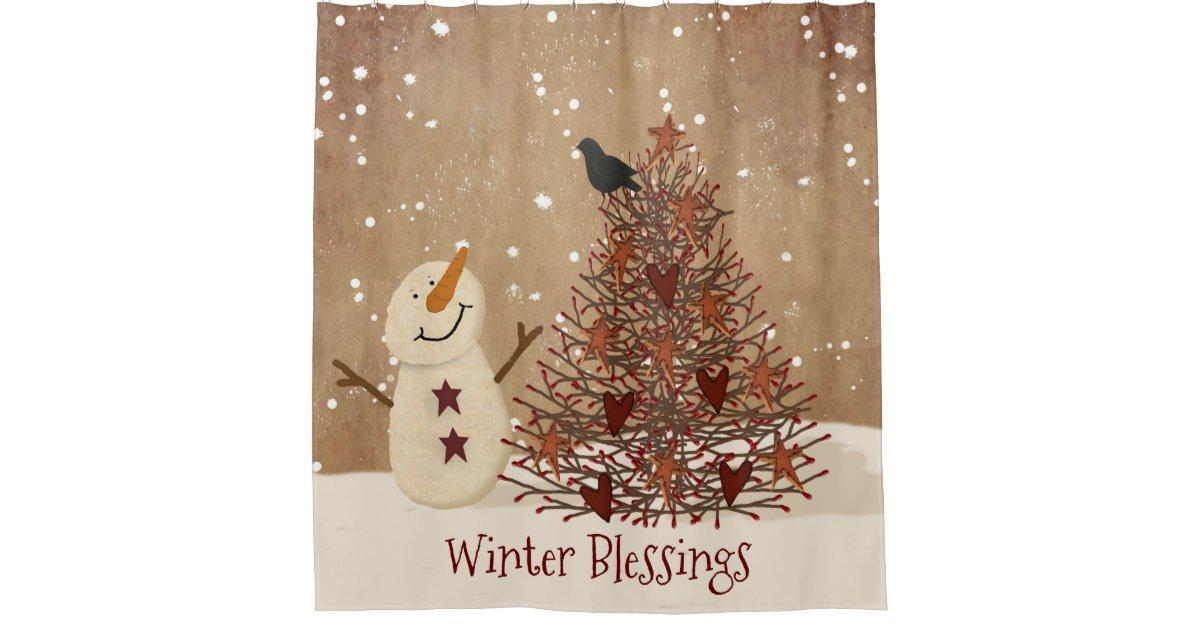 Winter Blessings Snowman Shower Curtain   Zazzle.com