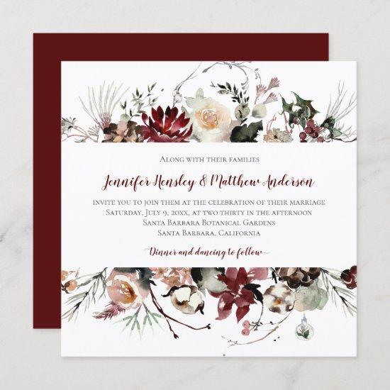 Winter Blooms - Burgundy Text Wedding   Invitation