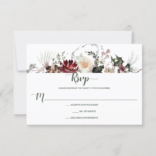 Winter Blooms Dark Forest Green | RSVP Card