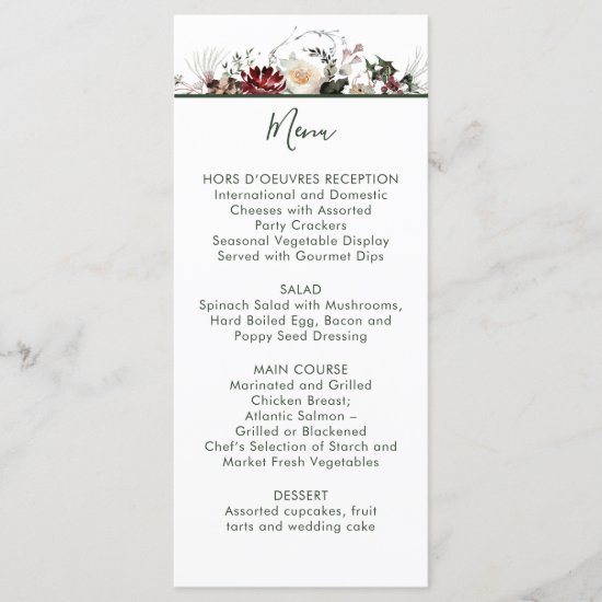 Winter Blooms - Dark Forest Green - Wedding | Menu