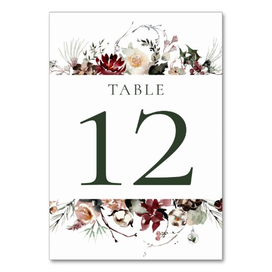 Winter Blooms - Dark Forest Green - Wedding | Table Number