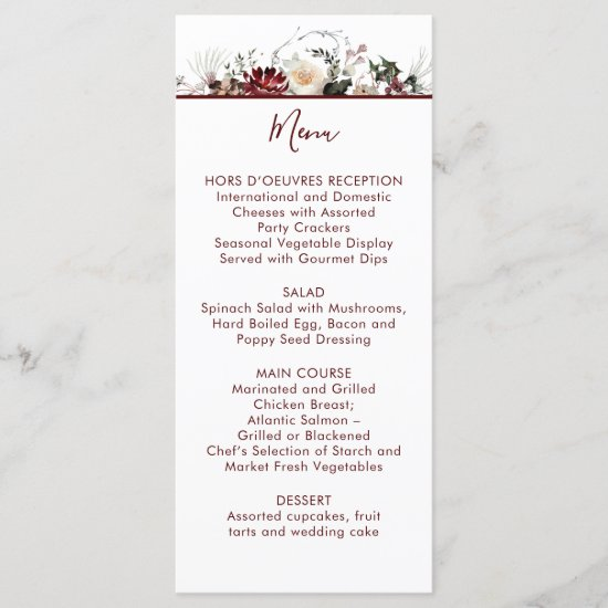 Winter Blooms - Deep Burgundy - Wedding | Menu