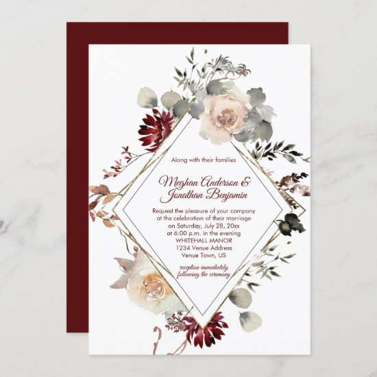 Winter Blooms Diamond Shape - Burgundy Wedding Invitation