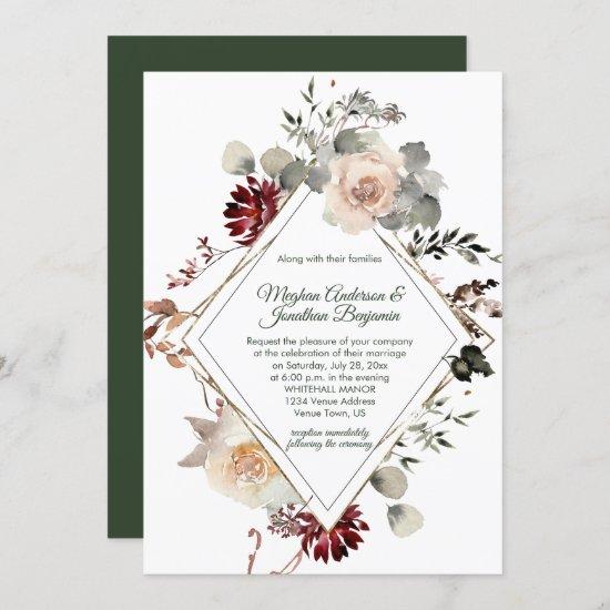 Winter Blooms Diamond Shape - Forest Green Wedding Invitation