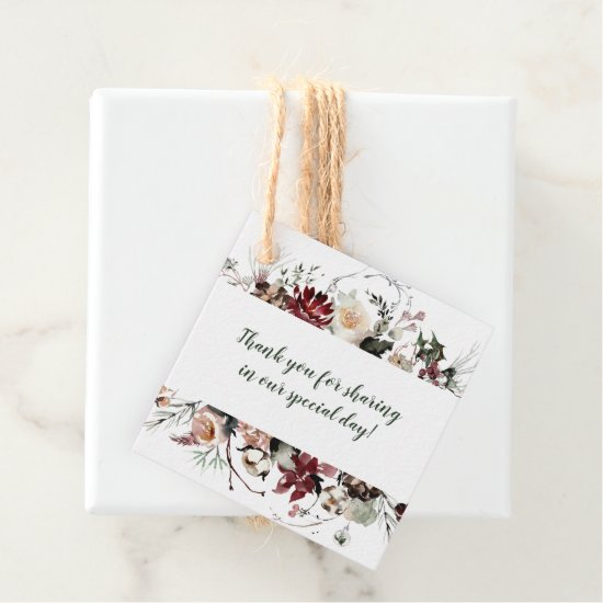 Winter Blooms Forest Green Wedding | Favor Tags