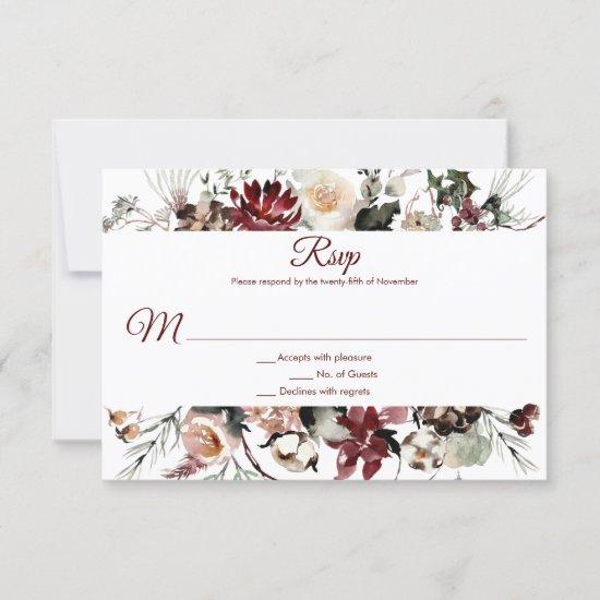 Winter Blooms Frame Deep Burgundy | RSVP Card