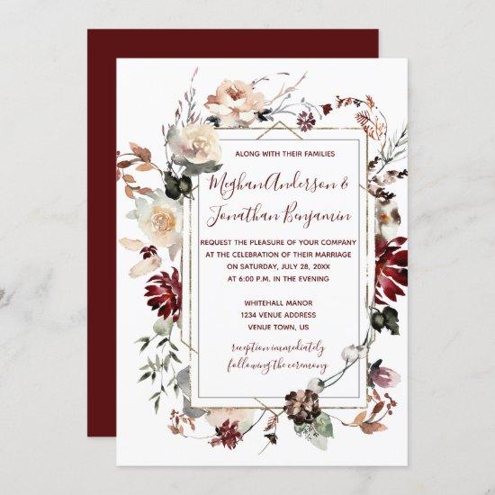 Winter Blooms Gold Frame - Burgundy - Wedding   Invitation