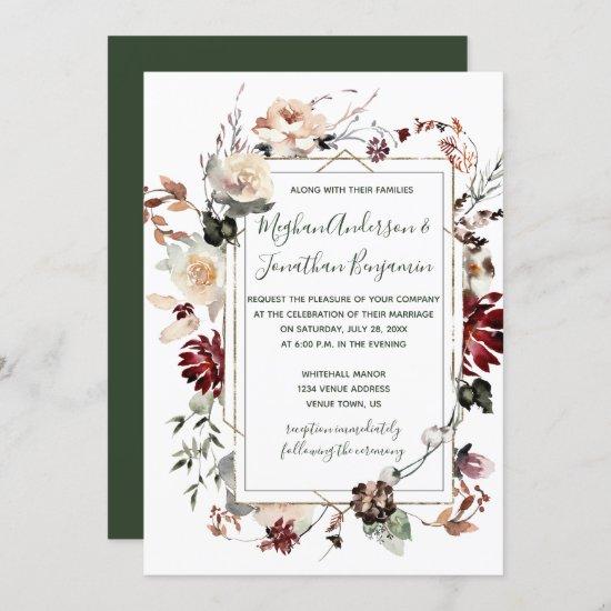 Winter Blooms Gold Frame - Forest Green- Wedding   Invitation