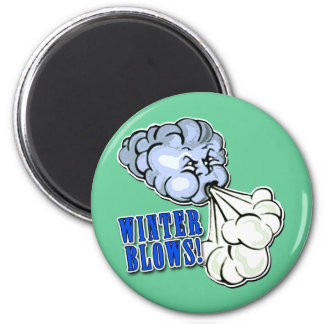 Winter Blows! With North Wind 2 Inch Round Magnet