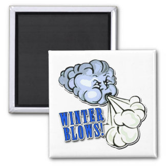 Winter Blows! With North Wind 2 Inch Square Magnet