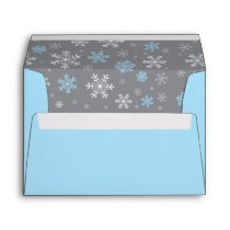Winter Blue and Gray Snowflake Pattern Envelope