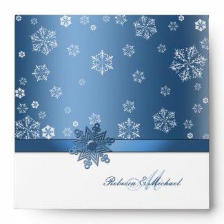 Winter Blue and White Snowflake Wedding Envelope envelope
