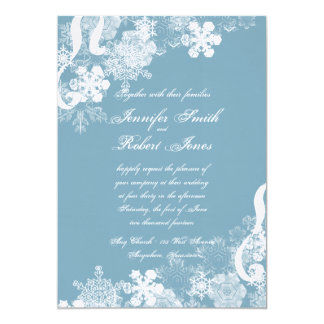 Winter Blue and White Snowflake Wedding Invitation