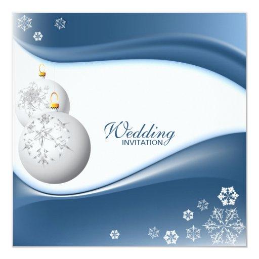 """Winter Blue and White Snowflake Wedding Invites 5.25"""" Square Invitation Card"""