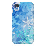 Winter Blue and White Snowflakes iPhone 4/4S Case