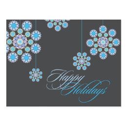 Winter Blue Christmas Flowers Holiday Greetings Postcard