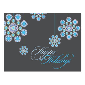 Winter Blue Christmas Flowers Holiday Greetings Postcard
