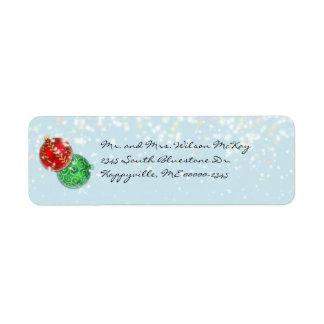 Winter Blue Christmas Snowfall Return Address Label