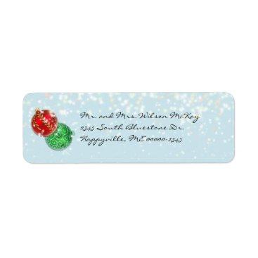 Christmas Themed Winter Blue Christmas Snowfall Return Address Label